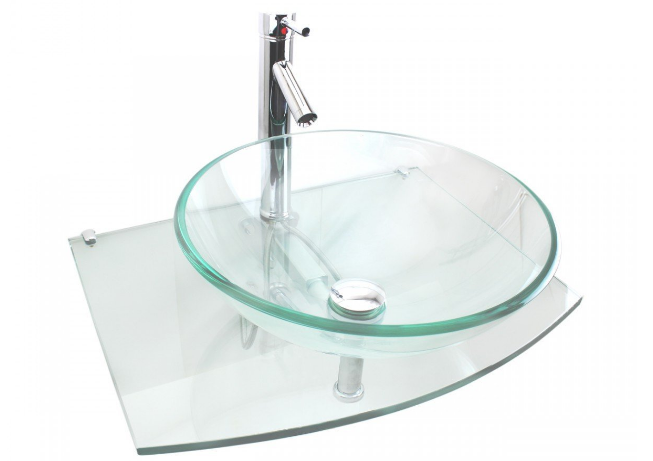 Halo Clear Tempered Glass Vessel Sink