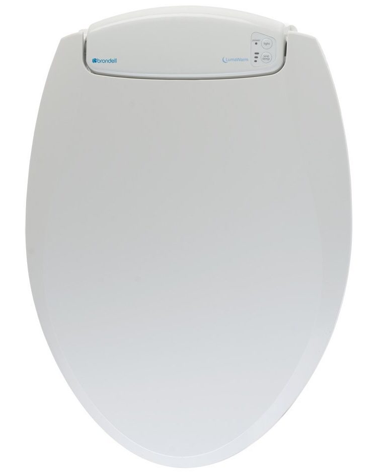 Brondell L60-EW LumaWarm Heated Nightlight Elongated Toilet Seat
