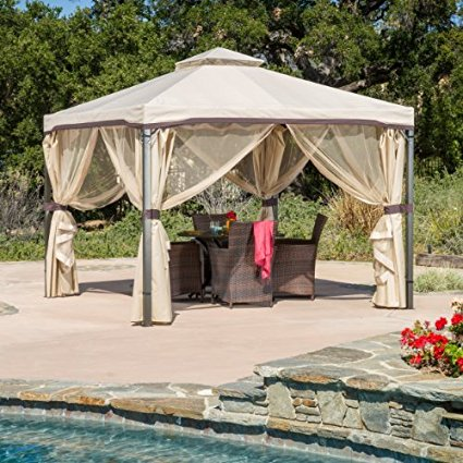 Sonoma Outdoor Iron Gazebo Canopy Umbrella W Net Drapery