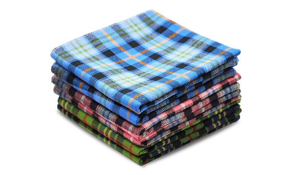 6 Men Handkerchief Plaid 100% Pure