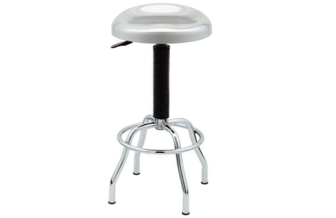 Seville Classics Contoured Silver Metallic Stainless Steel Work Stool